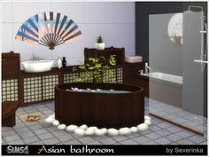 Bathroom in oriental style. Direct forms, a natural dark wood, national ornament - combine perfectly and create a unique atmosphere of warmth and east comfort.  Found in TSR Category 'Sims 4...
