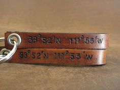 Latitude and Longitude Custom Leather Keychain by Cjohannesen, $19.00 How cute would this be with our wedding location on it.