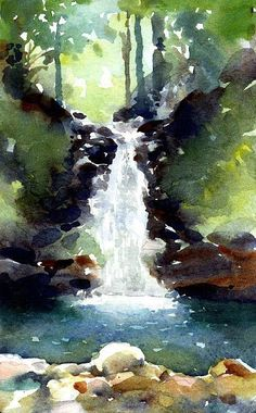 Mountain waterfall - myMoleskine Community - Mountain waterfall - myMoleskine Community Beate Vogt Aquarelle + (colors and shapes) Online High School for Sale Beate Vogt Online High School for Sale Mountain waterfall - myMoleskine Comm Watercolor Painting Techniques, Watercolor Landscape Paintings, Watercolor Projects, Watercolor Artists, Gouache Painting, Landscape Art, Water Colour Landscape, Realistic Oil Painting, Painting Lessons