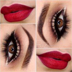 beauty, brown eyes, eyebrows, eyeliner, eyemakeup, eyeshadow, fashion, lipstick, makeup, red lipstick, simple makeup, gold makeup