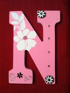 this is what i wanna do in my daughters name tho Painted Wooden Letter N