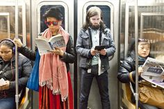 Featuring NYC subway commuters — with their candid snapshots taken by Ourit Ben-Haim — focused on burying their noses into their books while they travel to their destinations