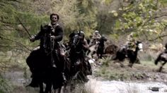 Screencap from the first Outlander trailer. Jamie and the highlanders running from the English Dragoons & Jack Randall.