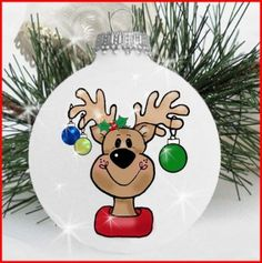 Best Diy Christmas Ornaments Painted Glass Ball Ideas Diy Happy New Year Painted Christmas Ornaments, Hand Painted Ornaments, Noel Christmas, Diy Christmas Ornaments, Christmas Decorations, Lightbulb Ornaments, Painted Snowman, Snowman Ornaments, Christmas Lights