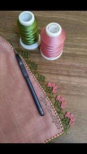 Crochet Motif Patterns, Crochet Lace Edging, Crochet Trim, Crochet Flowers, Fabric Flowers, Crochet Stitches, Embroidery Stitches, Knit Crochet, Knitting Patterns
