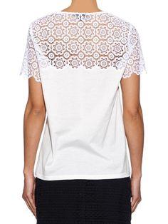 Burberry Prorsum Swiss-lace and jersey T-shirt