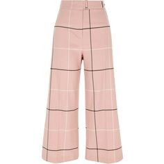 River Island Pink check belted culottes (1.310 ARS) ❤ liked on Polyvore featuring pants, capris, bottoms, trousers, pink, wide leg trousers, women, cropped pants, high waisted wide leg trousers and pink high waisted pants