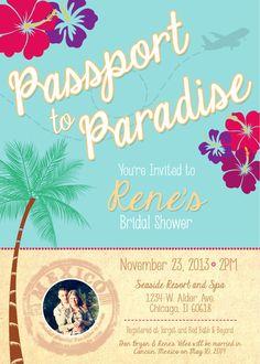 Passport to Paradise - Destination Wedding Bridal Shower Invitation on Etsy, $12.00