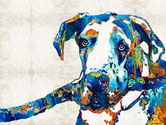 #greatdane #dogart Great Dane Art - Stick With Me - By Sharon Cummings Painting