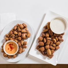 Salty or Sweet Pretzel Bites with Dips | Pretzel bites break free of the mall! Start with storebought pizza dough and you're practically done—just roll the dough into strips and cut them up. A quick dip in an alkaline baking-soda bath makes the pretzel bites turn a glossy brown as they bake, while leaving the insides chewy-soft.
