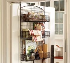 For my bathroom: over the door metal storage bin perfect for kitchen or bathroom