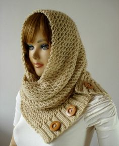 KNITTING PATTERN HOODED Cowl Scarf LouLou by LiliaCraftParty