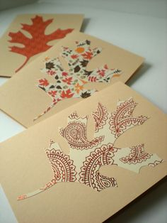 Oak Leaf cards, PlumeriaPapercraft // note to self: these are your Thanksgiving invites
