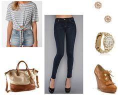 A go to: high waisted skinnies and a loose fitted top