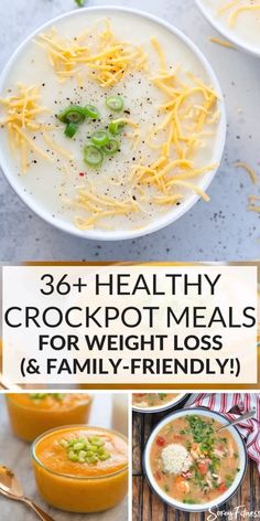 healthy-crockpot-meals-slow-cooker-dinner-recipes-delicious-chicken-and-easy-crockpot-tacos-chilis-stews-and-soups-for-easy-clean-eating-dinner/ SULTANGAZI SEARCH Healthy Dinner Recipes For Weight Loss, Clean Eating Recipes For Dinner, Clean Eating Snacks, Weight Loss Meals, Dinner Healthy, Healthy Weight, Easy Soup Recipes, Healthy Crockpot Recipes, Healthy Soup