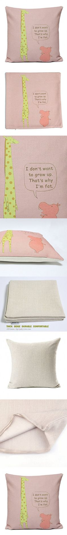 4TH Emotion The Story of Giraffe and Hippopotamus Sofa Simple Home Decor Design Throw Pillow Cover Pillow Case 18 x 18 Inch Cotton Linen(I Don't Want TO Grow Up That's Why I'm Fat)