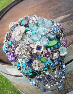Wedding Brooch Bouquet - Nic's Button Buds - peacock colours - purple green blue