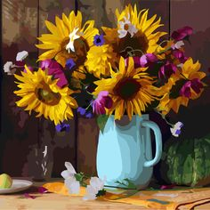 Oil Painting: Color by Number Flower Painting Canvas, Sky Painting, Oil Painting Flowers, Your Paintings, Beautiful Paintings, Original Paintings, Sunflower Flower, Yellow Sunflower, Sunflower Garden