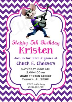 8 best chuck e cheese party images on pinterest cheese party chevron chuck e cheese birthday party invitation by rachellola filmwisefo