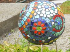 mosaic bowling ball to add color to the garden