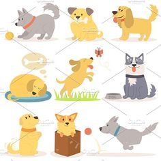 Vector set of funny cartoon dogs. Pet Icons