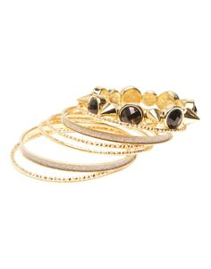 GODDESS | Bangle Pack with Studs in Black - Women - Style36 Summer Trends, Studs, Black Women, Sapphire, Bangles, Rings, Stuff To Buy, Jewelry, Fashion