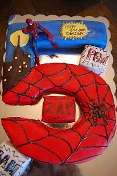Spiderman cake - I'm pinning this for my sister in law Molly!  ~  This is a cool cake!