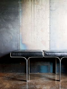 Industrial chic - metal panels, polished concrete floors and great seat detail too. Interior Walls, Interior And Exterior, Modern Furniture, Furniture Design, Furniture Nyc, Furniture Companies, Furniture Stores, Cheap Furniture, Design Industrial