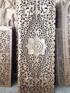 Carved King Size Bed Headboard. Teak Wood Carving Wall Art Panel. From Thailand. Asian Home Decor. (180X70 Cm. Extra Thick. Natural) by SiamSawadee on Etsy