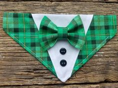 plaid Tuxedo st patrick dog bandana, green plaid and plaid bowtie custom colors, bowtie over the col Small Dog Clothes, Pet Clothes, Dog Clothing, Clothes Hangers, Kitten Accessories, Dog Tuxedo, Cat Scarf, Dog Clothes Patterns, Fluffy Dogs