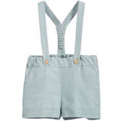 Nanos Powder Green Linen Shorts with Braces at Childrensalon.com