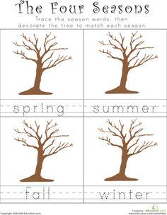 Kindergarten Building Words Weather & Seasons Worksheets: Writing the Four Seasons