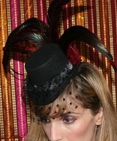@Kimberly Ayala small Black Skull Burlesque Mini Top Hat fascinator with rooster feathers and veil $35