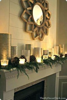 Christmas Fireplace, Christmas Mantels, Christmas Home, Christmas Holidays, Christmas Villages, Silver Christmas, Victorian Christmas, Christmas Trees, Vintage Christmas