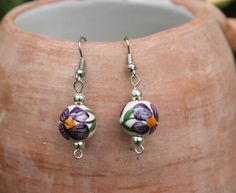 Floral Hand Painted Bead Earrings by KusiPeru on Etsy, $7.00