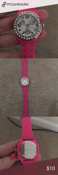 Aeropostale pink quartz watch Cute pink jelly watch.  This is NWOT. Never been worn, still has plastic film covering the back and original plastic holding the pin out.  Beautiful diamonds surround the white faced watch Aeropostale Jewelry Bracelets