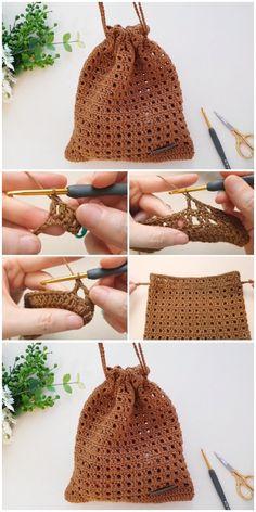 Crochet Simple, Crochet Diy, Learn To Crochet, Crochet Crafts, Crochet Projects, Simple Crochet Patterns, Clutch En Crochet, Crochet Pouch, Crochet Purses