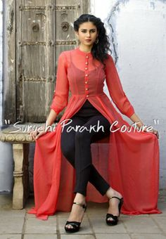 Best 12 Lovely Georgette cape by Suruchi Parakh Kurta Designs Women, Kurti Neck Designs, Kurti Designs Party Wear, Blouse Designs, Kurti Embroidery Design, Stitching Dresses, Pakistani Dress Design, Indian Designer Outfits, Party Wear Dresses