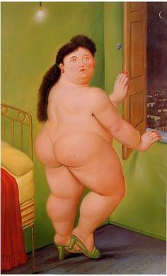 """""""Woman in Front of the Window"""", 1990, by Fernando Botero (Columbian, b. 1932)."""