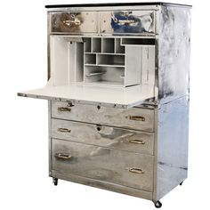 Early 20th Century Metal Secretary Desk   From a unique collection of antique and modern secretaires at https://www.1stdibs.com/furniture/storage-case-pieces/secretaires/