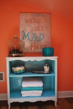 paint inside of corner shelf/cabinet