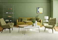 green room color schemes Green Room Colors, Green Color Schemes, Room Color Schemes, Green Rooms, Home Design, Design Ideas, Interior Design, White Side Tables, Mid Century Modern Living Room