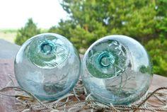 "2 Japanese Glass Ball Fishing Floats Marked DG A Vintage Fish Net Buoy Bouy 2 5"" | eBay"