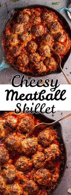 Hello cheesy baked meatball skillet of your dreams! Tender and flavorful meatballs, a rich tomato sauce, and plenty of melted cheese make this skillet recipe a winner.