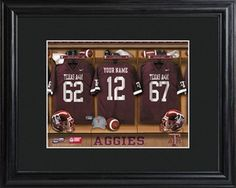 Texas A Aggies College Football Locker Room Print with Wood Frame offers FREE Personalization. This is just an example of one school. Check for your college or university team.