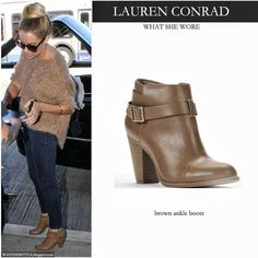 Lauren Conrad in brown ankle boots, dark blue skinny jeans and brown knit sweater
