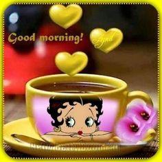 Good Morning Prayer, Good Morning Quotes, Morning Thoughts, Happy Birthday Betty Boop, Drowning Art, Imagenes Betty Boop, Good Morning Funny Pictures, Betty Boop Cartoon, Black Girl Cartoon