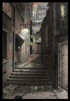 KZ2 Helghan alley, michel voogt on ArtStation at https://www.artstation.com/artwork/kz2-helghan-alley