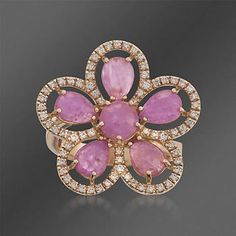 Roberto Coin 5.00 ct. t.w. Pink Sapphire and .35 ct. t.w. Diamond Flower Ring in 18kt Rose Gold. Size 6.5