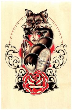 Vintage Foxy Flapper Tattoo Print by Stacey Martin Smith